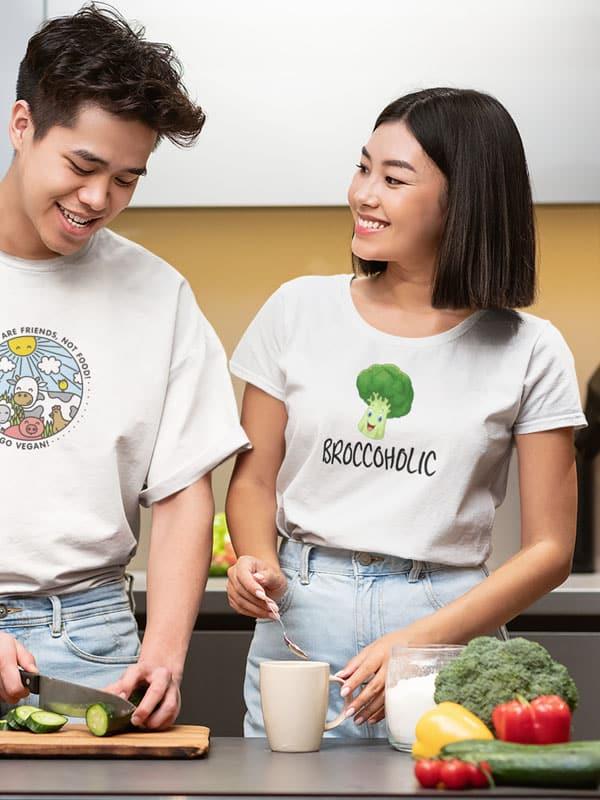 vegan t shirt broccoholic tekst