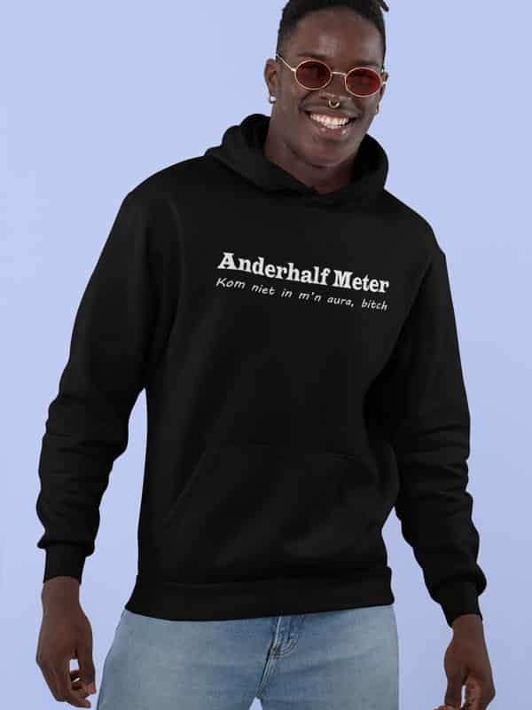 anderhaf meter afstand hoodie zwart