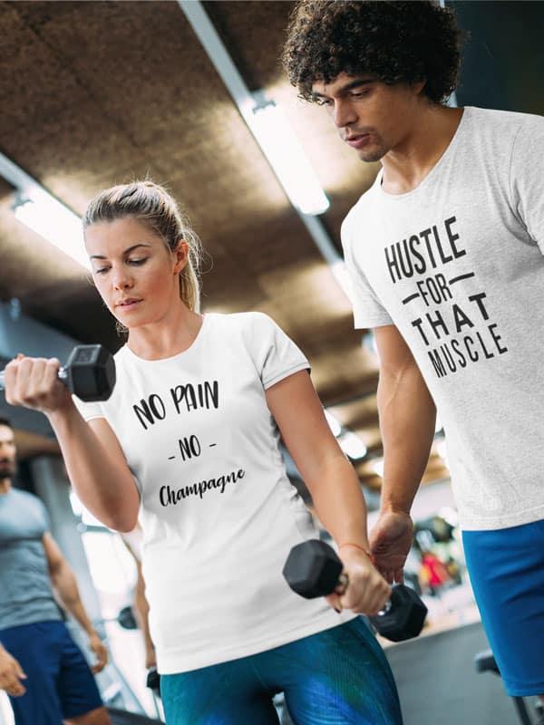 no pain no champagne fitness t shirt