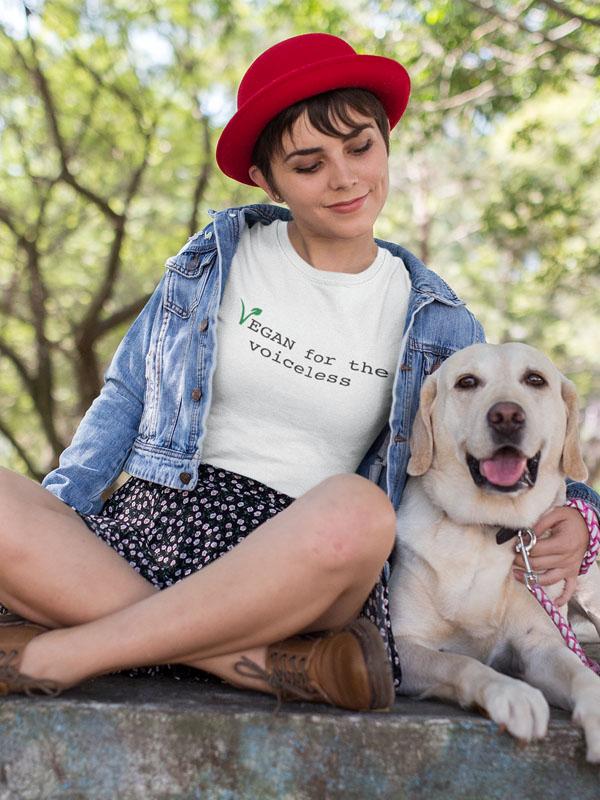 vegan for the voiceless t shirt wit groen