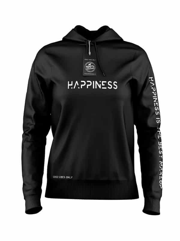 Hoodie Happiness Zwart