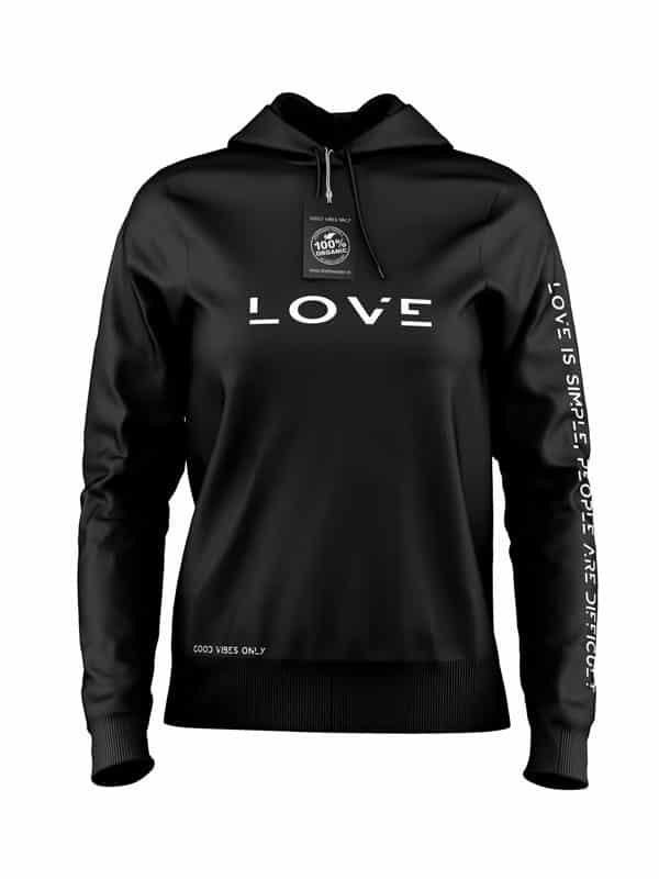 Love is Simple Hoodie Zwart
