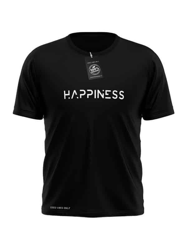 T-Shirt Happiness Zwart