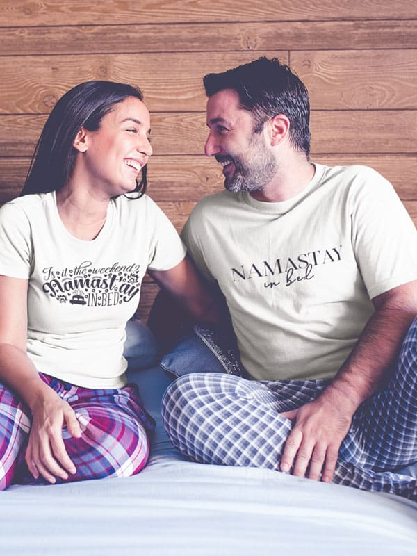 namastay in bed teskt t shirt