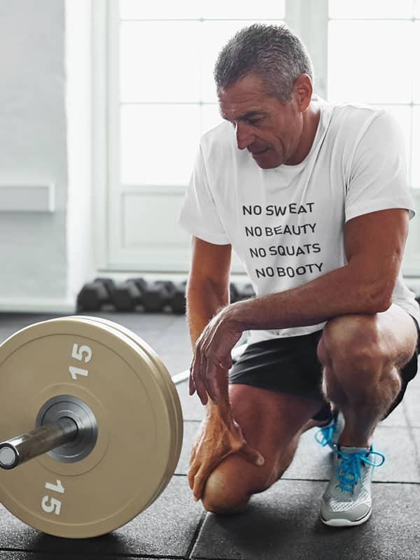 Fitness T-Shirt No Sweat No Beauty No Squats No Booty tekst