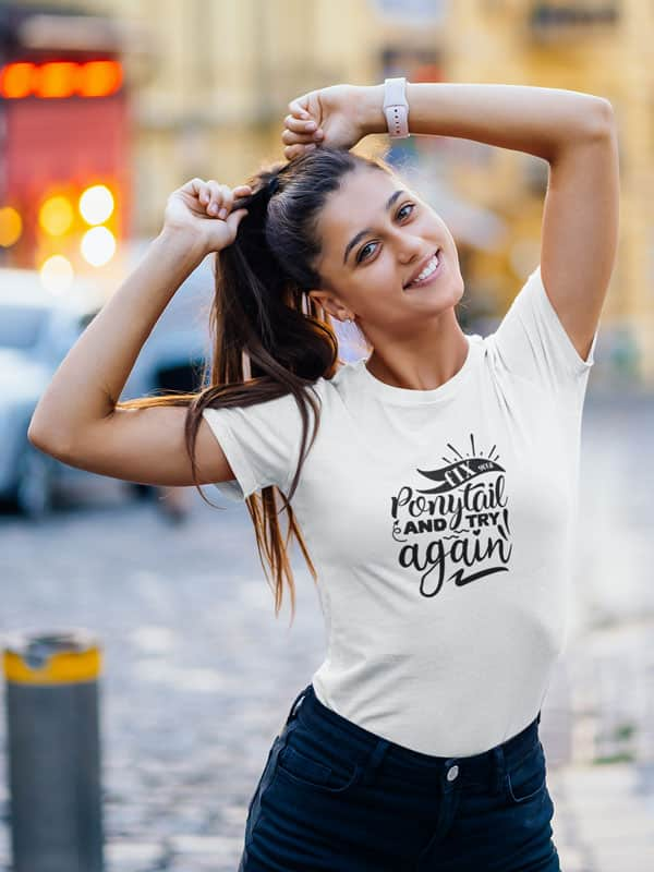 fix your ponytail and try again tekst shirt wit